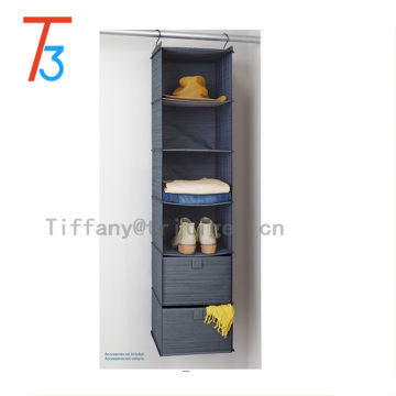 New design 6 shelves hanging organizer with two drawers gray cationic fabric 6 shelf hanging organizer