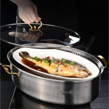 Oval Long 304 Stainless Steel Steamed Fish Pot
