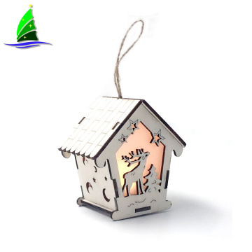 LED Light Wood House with Reindeer Decorations
