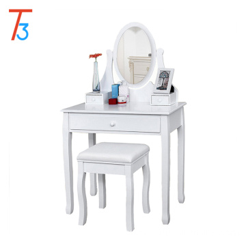 white Dressing Makeup Table Set Professional 137 x 80 x 40 cm with mirror and stool