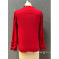 Red women's long sleeve blouse