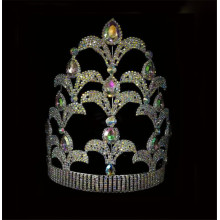 10 Inch AB Stone Pagaent Crown Queen Tiara