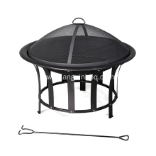 30'' Black Steel Wood-Burning Fire Pit