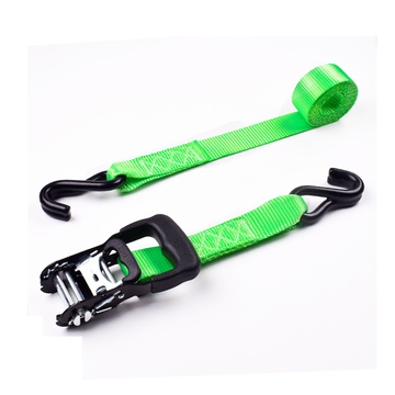 "1.5"" 2000kgs 38mm Ratchet Rubber Buckle Cargo Tiedown Lashing Green Belt With 1.5 Inch Double S Hooks"