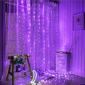 Romantico Purple Icicle Curtain Copper Starry Lights
