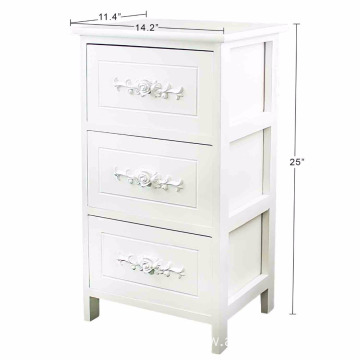 Fully Assembled 100% Solid Wood Elegant Night Stand 3 Drawer Storage Shelf Organizer