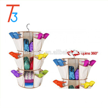 360 degree spining SMART Carousel Shoe Bag Hanging Closet Organizer