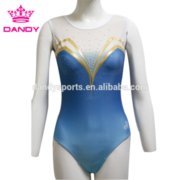 High quality factory for Competition Leotards blue ombre lycra gymnastics uniforms export to Malaysia Exporter