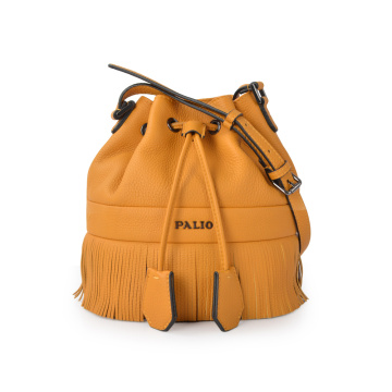 Drawstring Lady Fashion Tassel Mini Leather Bucket Bag