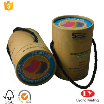 Brown paper tube box with CMYK printing