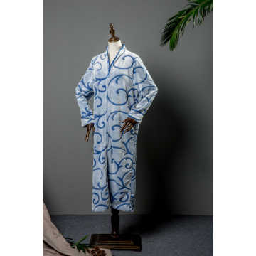 Zip cut flower coral fleece  long robe