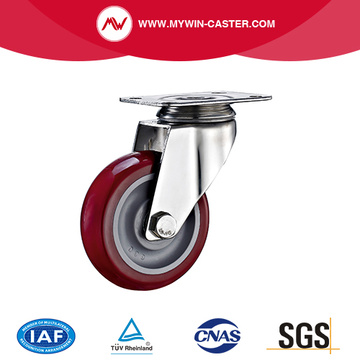 Plate Swivel PU Stainless Steel Caster