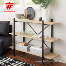 Best-Selling for Solid Wood Bookcases 3 Tiers Bookshelves With Metal Frame Modern supply to Japan Supplier