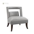 Modern Grey Leather Living Room Armchair