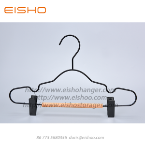 Cheapest Price for Suit Hanger EISHO Black Children Wood Metal Hanger With Clips export to France Exporter