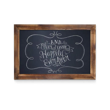 Rustic painted wall mounted wood framed chalkboard for sale