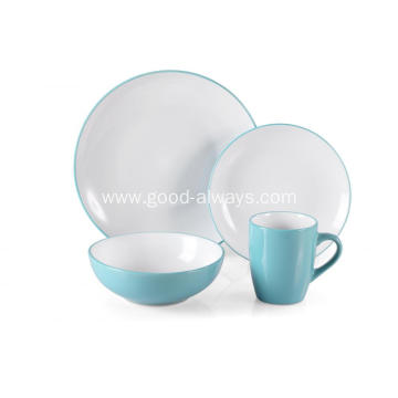 16 Piece Stoneware Two Tone Color Dinner Set  Teal