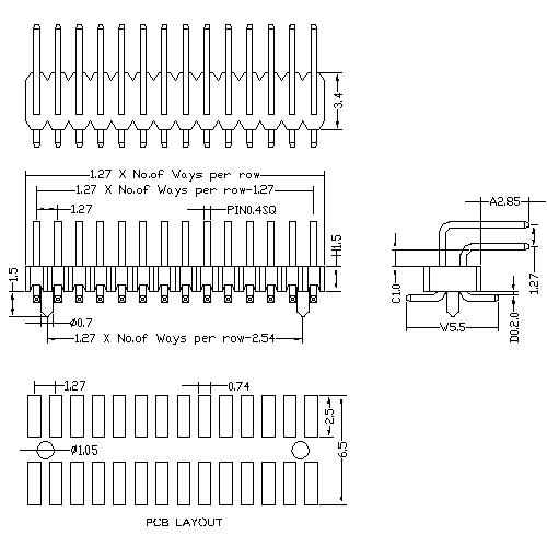 1.27 mm Pin Header Dual Row Angle SMT Type H1.5