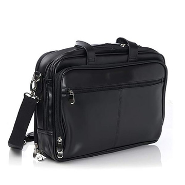 Customized Top-Zip Black Laptop Leather Messenger Bag