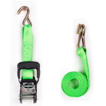 "1.5"" 2T 38mm Rubber Handle Ratchet Buckle Tie Down Green Strip Belt With 1.5 Inch Double S Hooks"