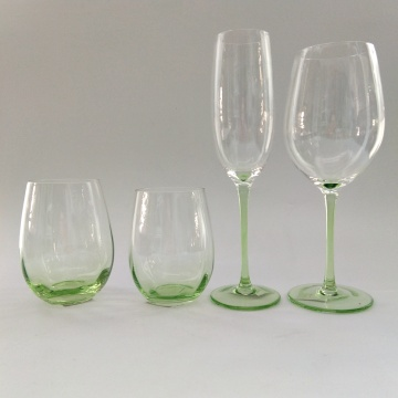 light green color goblet glass stemless wine cups