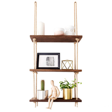 Wood Hanging Shelf Wall Swing Storage Shelves Jute Rope Organizer Rack 3 Tier