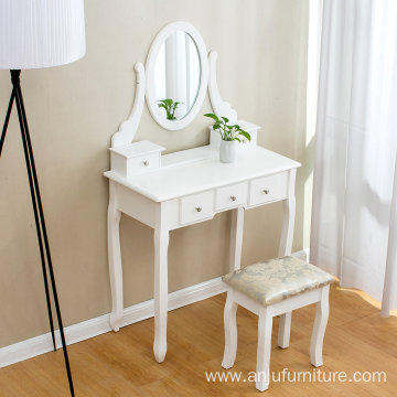 makeup vanity table wholesale White Dressing Table With Chair and Five Drawers for Bedroom