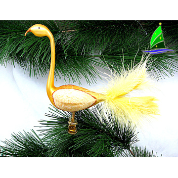 glass clip-on flamingo ornament for christmas tree