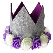 Purple happy birthday party hat