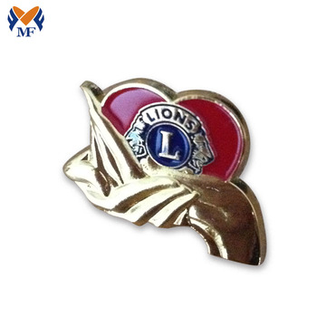 Gold plating heart shape lion badge