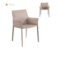 Beige Metal Frame Dining Chair na may Cover ng Balat