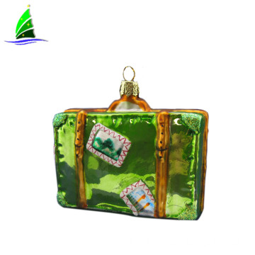 Christmas hanging glass suitcase ornament decoration