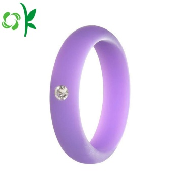 Safety Eco-friendly Wedding Diamond Silicone Finger Rings