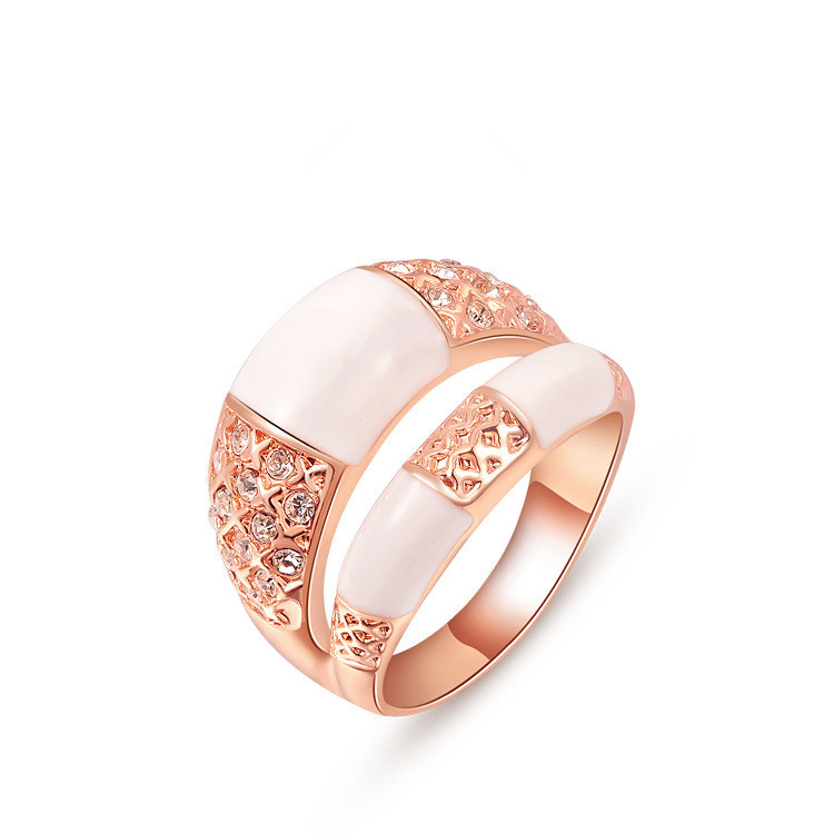 Tissany colorful crystal rose gold plated rings jewelry