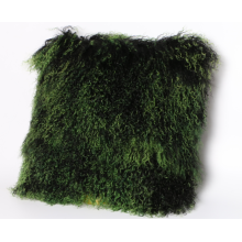 Mongolian Lamb Skin Pillow Dark Green