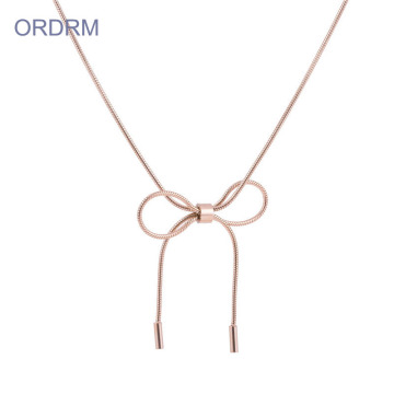 Long Rose Gold Snake Chain Bow Knot Necklace