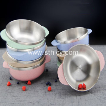 Stainless Steel Wheat Straw Double Ear Rice Bowl