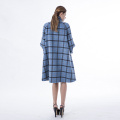 Vogue plaid blue cashmere coat