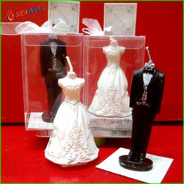 Romantic wedding bride and groom shape candle