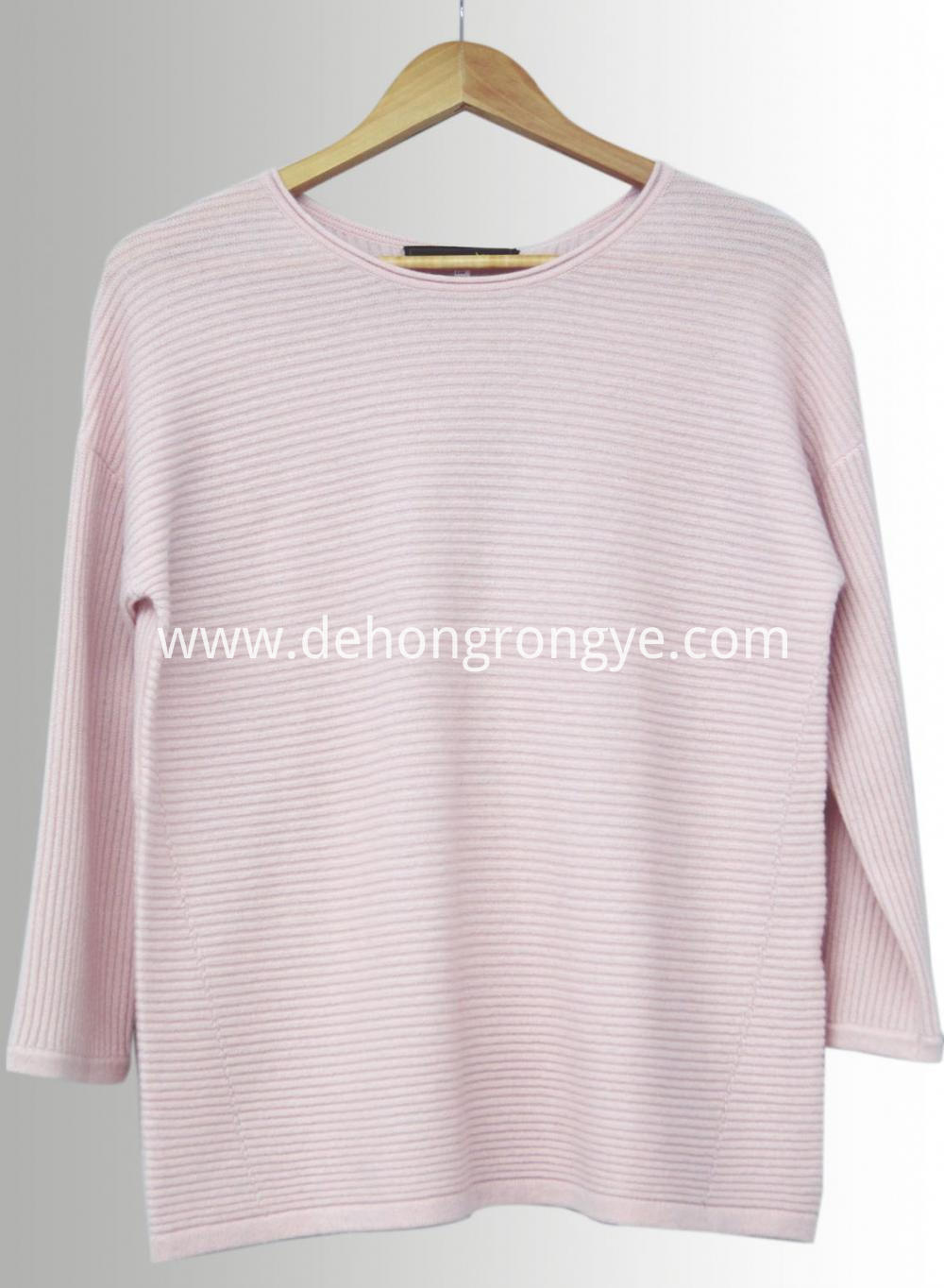 Pink Round Neck Loose Cashmere Sweater
