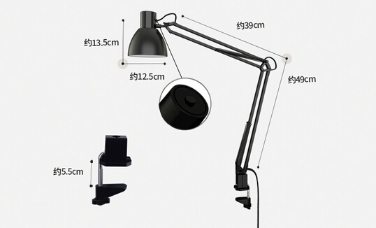 Long Swing Arm Desk Lamp Clamp Metal Architect Adjustable Folding Twin-Arm Clip-on Table Lamp black-60