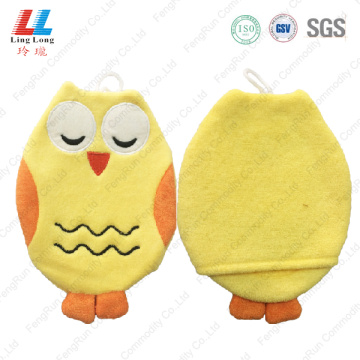 Yellow style owl animal bath gloves