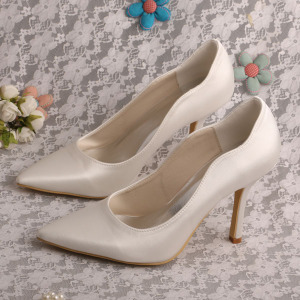 Hot Sale for for White Wedding Shoes Plain White Satin Heels Pointed Toe export to United States Wholesale