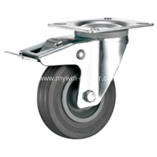 3.5'' Plate Swivel Gray Rubber PP Core with brake Industrial Caster