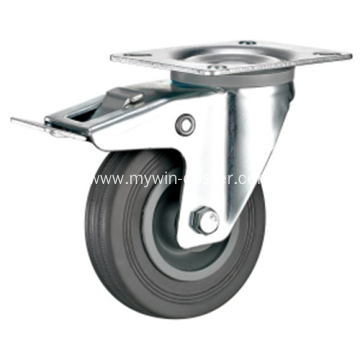 6'' Plate Swivel Gray Rubber PP Core with brake Industrial Caster