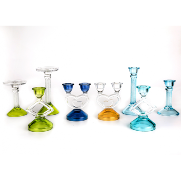 unique colored glass candle holders for sale sets