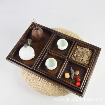 Chinese 7 Piece Rustic Wooden Nesting Tea Serving Trays Set with Handles