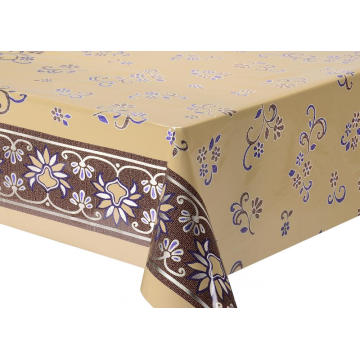 Double Face Emboss printed Gold Silver Tablecloth Gold