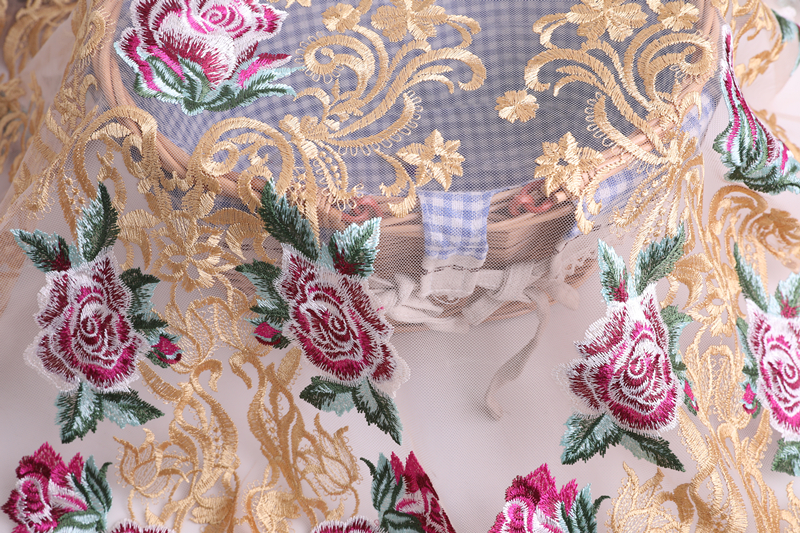 Rose Flower Embroidery Fabric
