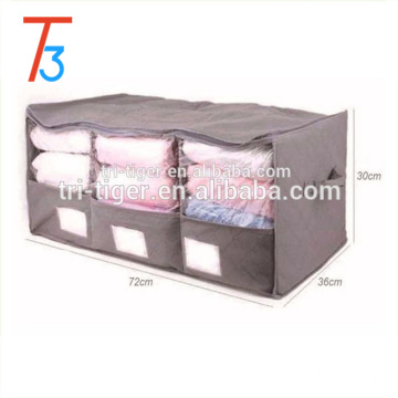 Non-woven Fabric Quilt Clothes Blanket Pillow Under Bed Storage Bag with Clear Window 3 Grid